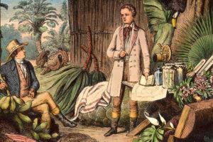 """""""Alexander von Humboldt und Aim' Bonpland in der Urwaldhtte am Orinoco"""" – A.v. Humboldt rechts im Bild"""